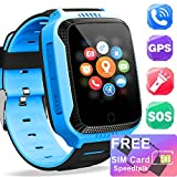 [Free SIM Card] Kids Smart Watch - Smart GPS Tracker Watch for Girls Boys with Two-Way Call Anti-Lost SOS Camera Clock, Child Wrist Cellphone Watch Sport Outdoor Summer Back to School Gifts