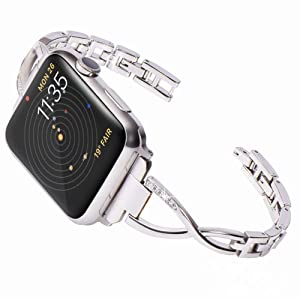 DaGeLon Compatible with Apple Watch Band 40mm Series 5 Series 4 38mm Series 3 2 1, Women Girls Wristband Stainless Steel Bracelet Glitter Rhinestone Replacement Strap for iWatch Sport Edition, Silver