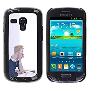 Shell-Star Arte & diseño plástico duro Fundas Cover Cubre Hard Case Cover para Samsung Galaxy S3 III MINI (NOT REGULAR!) / I8190 / I8190N ( Thoughtful Boy Painting Art Letter Love Ink )