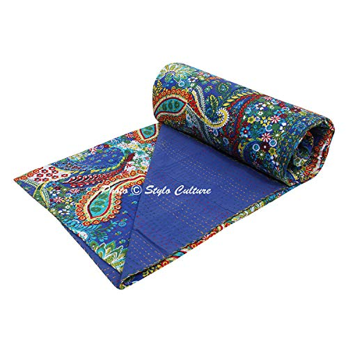 Stylo Culture Cotton Kantha Quilt Throw Twin Bedspread Bedding Ink Blue Traditional Indian Hand Stitched Paisley Print Blanket Coverlet (90x60) ()