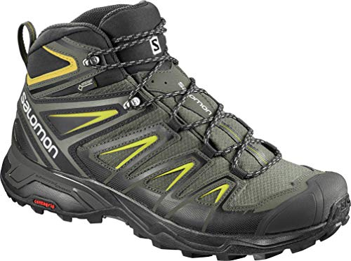 SALOMON X ULTRA 3 MID GTX MEN'S HIKING BOOTS CASTOR GRAY/BLACK/GREEN SULPHUR SZ 10.5