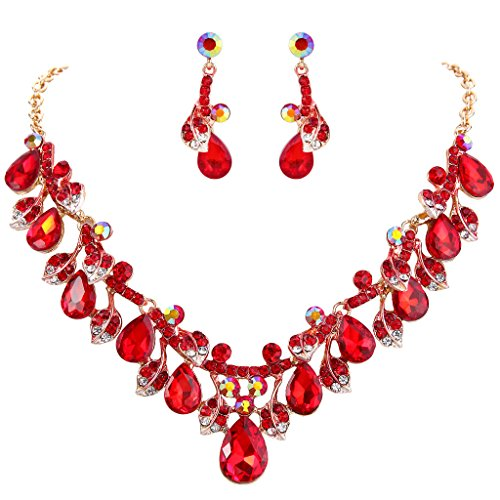 - BriLove Wedding Bridal Necklace Earrings Jewelry Set for Women Crystal Enamel Teardrop Cluster Leaf Vine Statement Necklace Dangle Earrings Set Ruby Color Gold-Toned