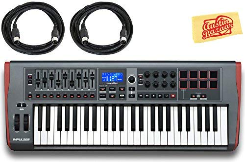 Novation Impulse 49 Keyboard Bundle with MIDI Cables and Austin Bazaar Polishing Cloth