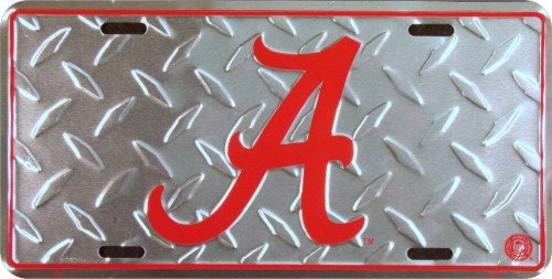 Alabama Crimson Tide diamond emboss metal license plate 6 x 12 ()