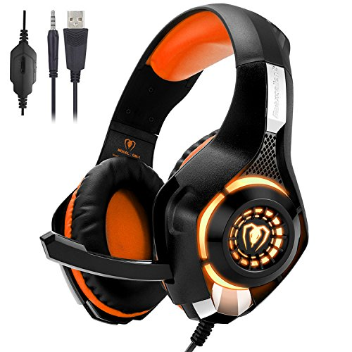 Gaming Headset for PC PS4, Beexcellent Stereo Surround Sound Gaming  Headphones with Noise Cancelling Microphone Volume Control LED Lights for  Xbox One