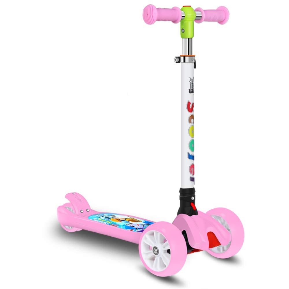 CDREAM Kinderscooter Dreirad Mit Verstellbarem Lenker Kinderroller Roller Scooter Blinken Für Kinder Ab 2-14 Jahren Bis 100kg Belastbar Rosa