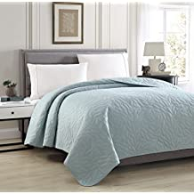 "Bourina Reversible Bed Quilt Bedspread and Coverlet 90"" x 90"" Microfiber Thin Comforter-Full/Queen, Blue"