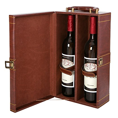 MyGift Leatherette Bottle Carrier Handle
