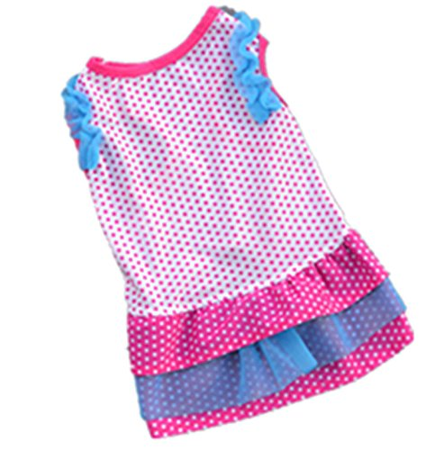 Ollypet Dog Dresses for Small Puppy Cat Girl Polka Dot Pink Pet Apparel Clothes Summer XS