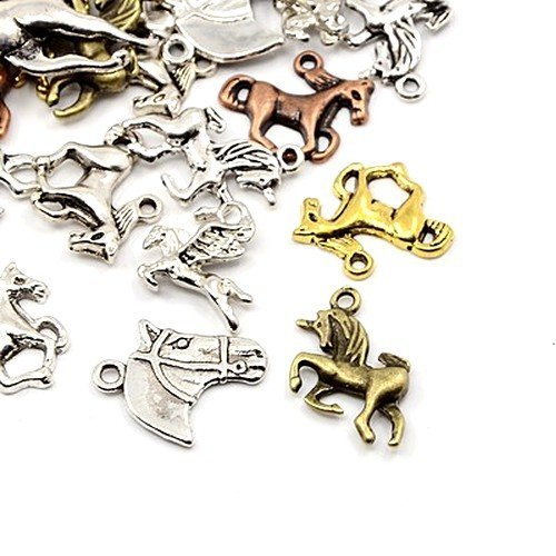 30 Grams Mixed Tibetan Random Shapes & Sizes charms pendants (Horse) - (HA12890) - Charming Beads Something Crafty Ltd
