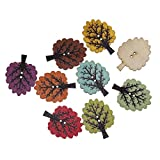 Souarts Mixed Random Tree Shape 2 Holes Wooden Buttons for Sewing Crafting Pack of 50