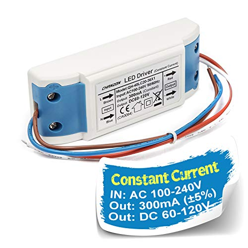 Chanzon LED Driver 300mA (Constant Current Output) 60V-120V (Input 100-240V AC-DC) (20-36) x1W 20W 24W 30W 36W Power Supply 300 mA Lighting Transformer Drivers for High Power COB Chips (Plastic Case)