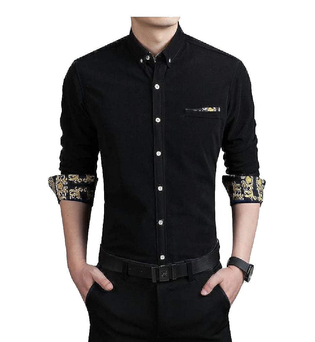 YUNY Mens Oversized Business Long-Sleeve Relaxed Fleece Dress Shirt Black 3XL