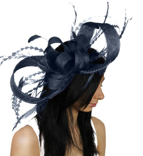 Large Brown Paper Packages and Feathers Ascot Fascinator Hat With Headband - Navy by Hats By Cressida