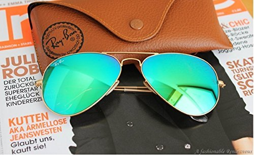Ray Ban Aviator Sunglasses RB3025 112-19 Matte Gold Frame, Green Mirror Lenses - Gold Mirror Ban Green Ray