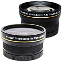 PLR Studio Series .43x High Definition Wide Angle Lens With Macro Attachment + PLR Studio Series 2.2X High Definition Telephoto Lens Travel Kit For The Nikon D5000, D3000, D3200, D5100, D3100, D7000, D4, D800, D800E, D600, D40, D40x, D50, D60, D70, D80, D90, D100, D200, D300, D3, D3S, D700, Digital SLR Cameras Which Have Any Of These (18-55mm, 55-200mm, 50mm) Nikon Lenses