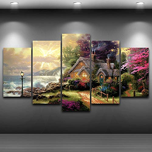 Modular Office Cottage (HIOJDWA Paintings Canvas Wall Art Modular Picture Modern Frame for Living Room Decor 5 Panel Seashore Cottage Classic Oil Painting HD Print)