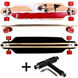 FunTomia® Longboard Skateboard Board Skaten Cruiser Komplettboard mit ABEC-11 High Speed Kugellager (Modell Freerider - Farbe Rot California+T-Tool)