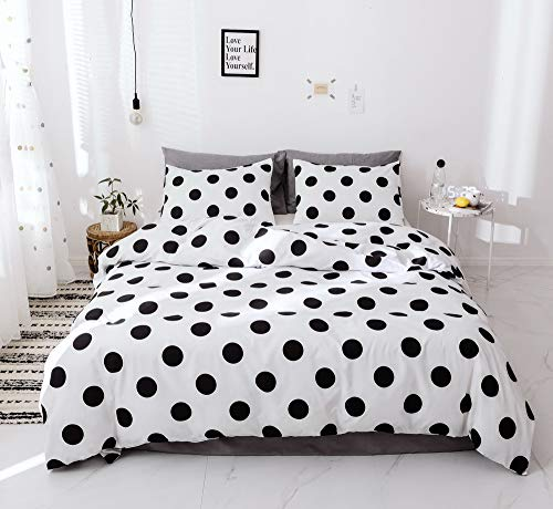 (Janzaa 3 PCs Bedding Duvet Cover Set Black Dots Printing Microfiber Soft Breathable Duvet Cover Queen Bedding Cover with Pillow Shams)