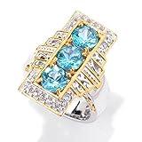 Michael Valitutti Palladium Silver Brazilian Paraiba Color Apatite & White Zircon Elongated Ring