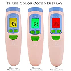 Forehead Thermometer for Fever Temperature, Amplim Medical Termometro Digital Temporal Thermometer Best for Adult Kids Baby Infant Child Newborn, Infrared No Touch Thermometer with Free Case - Pink