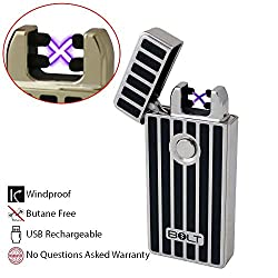 BOLT Lighter® USB Rechargeable Windproof Electric Plasma Dual Arc Lighter Set with USB Charging Cable and Carrying Pouch