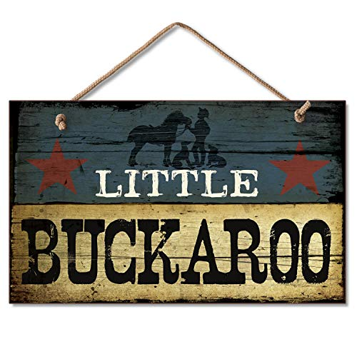 (New LITTLE BUCKAROO SIGN Cowboy Plaque Boy's Room Decor WESTERN Blue Star ART)