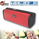 Wireless Bluetooth Speaker,Outdoor Portable Stereo Speaker with HD Audio and Enhanced Bass,Built-In Dual Driver Speakerphone,Handsfree Calling,Beach Radio and waterproof blueto (Red-81) …