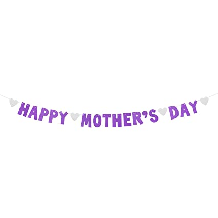 LUOEM HAPPY MOTHERS DAY Banners Glitter Streamer Mothers Day Bunting Garland Decoration Favors