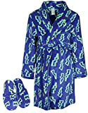 Too Cool 2 Sleep Boy's Plush Fleece Robe Set with Slippers, Dark Blue