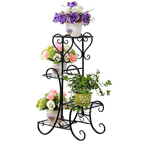 (4 TIER Metal Shelves Flower Pot Plant Stand Display Indoor Outdoor Garden Patio)