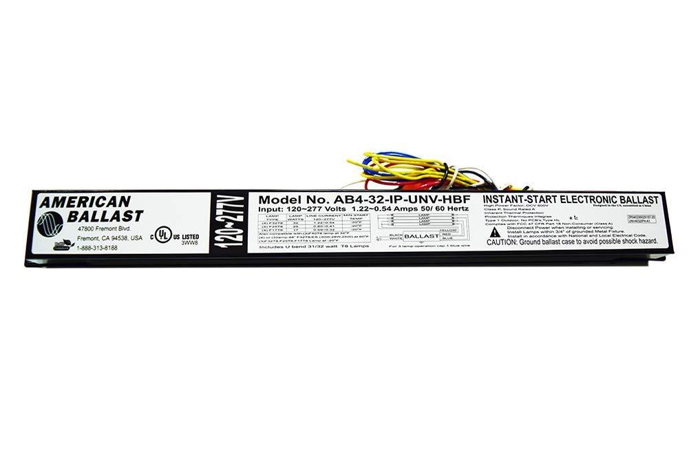 American Ballast - 3 or 4 Lamp- Model: AB4-32-IP-UNV-HBF - 120 ~ 277V - 1.22 ~ 0.54 Amps - 50/60 Hertz - Instant Start Electronic