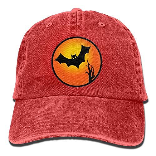 Arsmt Halloween Bat Denim Hat Adjustable Men's Classic Baseball Cap -