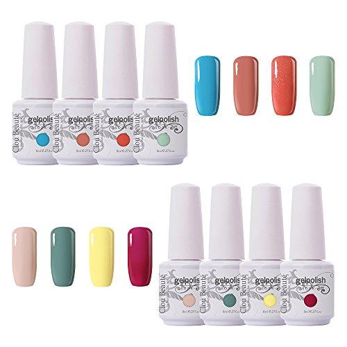 Polish Varnish - Clou Beaute Soak Off UV Led Nail Gel Polish Kit Varnish Nail Art Manicure Salon Collection Set of 8 Colors 8ml CB-S07