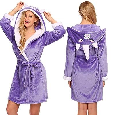 Aimado Animal Robe for Women Hooded Terry Bathrobe Cute Pajamas with Pockets S-XXL