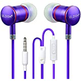 Wired Earbuds, ULDUM Stereo Noise Cancelling Bass Sweatproof In-ear Isolating Earbuds Earphones with Mic for Enable Bluetooth Players-Amethyst