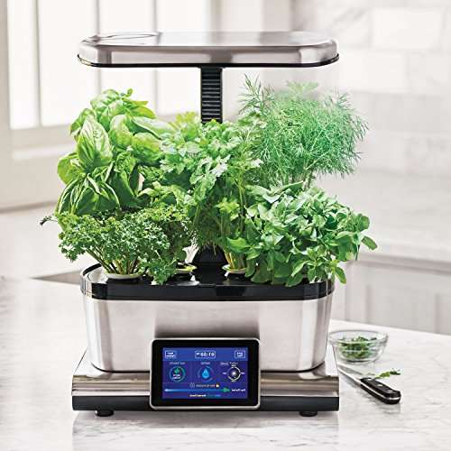 51IFofeba8L - AeroGarden Harvest Touch with Gourmet Herb Seed Pod Kit, Stainless Steel