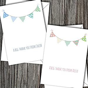 10 Personalised Boy/Girl Baby Thank You Cards (SBD17) Free UK DELIVERY