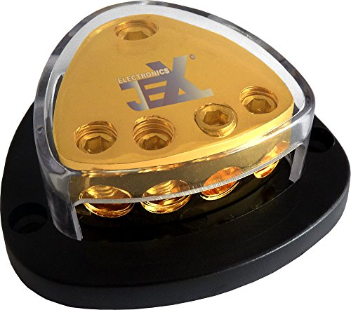 Way Distribution Amp (Jex Electronics 4-Way Car Audio Stereo Amp Power/Ground Cable Splitter Distribution Block 2ga)