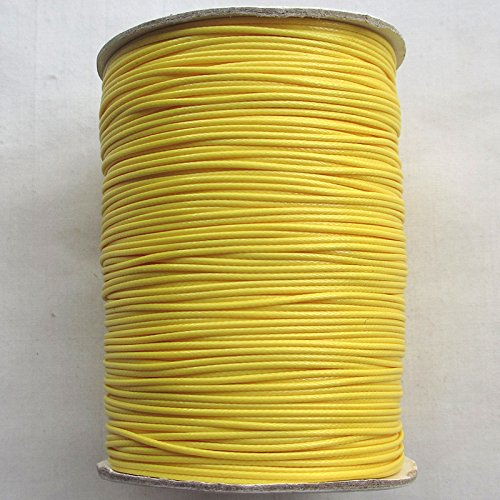 Chenkou Craft 1roll (170m) Korean Wax Ropes Cord 1.0mm Bracelet Bangle Acceccorries 20 Color for Choice (Yellow Wax Cord Bracelet)