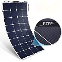 BougeRV 100W 18V 12V Solar Panel Charger ETFE SunPower Cell Solar Power Flexible Ultra Thin with MC4 Connector Charging for RV Travel Trailer Van Truck Car SUV Pontoon Boat Cabin Tent