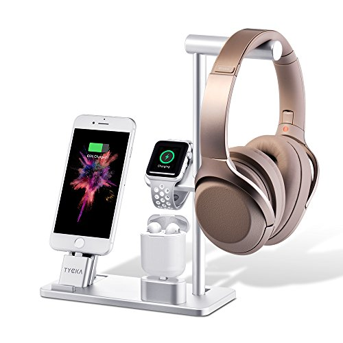 TYCKA Aluminum 4 in 1 Apple Charge Station, Apple Watch + iPhone stand + AirPods Charging Stand + Headphone Holder for Apple Watch Series 3/2/1, iPhoneX 8Plus 8 7Plus 7 6s 6Plus 6, iPad with Silver by TYCKA