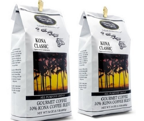 Hawaiian Isles Kona Classic Coffee All Purpose Grind, 24 oz (Pack of 2)