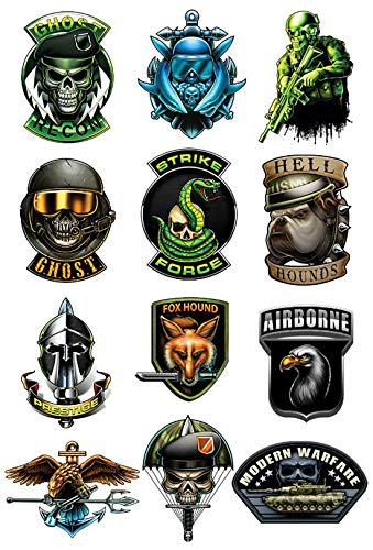 Black Ops Waterproof Temporary Tattoos Set of 12 pcs - Airborne | Eagle Trident | Skull | Snake - Hands Shoulders Chest Temporary Tattoo Body Sticker For Men -