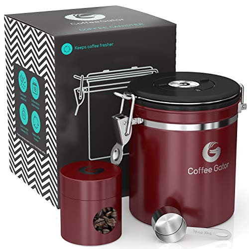 Coffee Gator Stainless Steel Container - Fresher Beans and Grounds for Longer - Canister with Date Tracker, CO2-Release Valve, Measuring Scoop and Travel Jar - Medium - Red