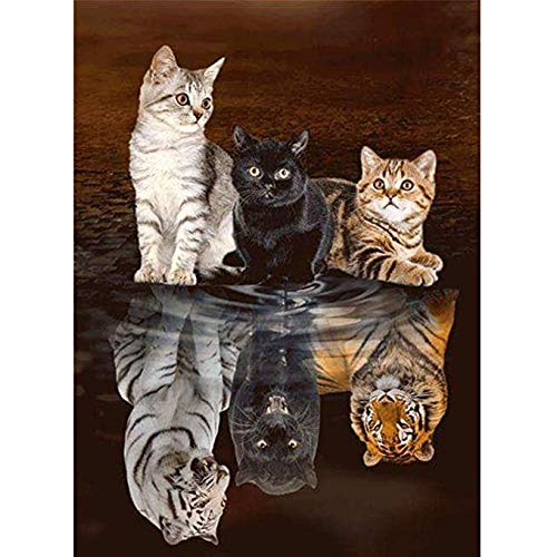 HuaCan Diamond Painting Kits - DIY 5D Cat Tiger Full Square Drill Crystal Rhinestone Embroidery Pictures Arts Craft for Home Wall Decor 45x60cm ()