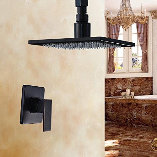 Rozin® Ceiling Mount 8 Inch Rain Shower Head with One Handle Mixer Black Color