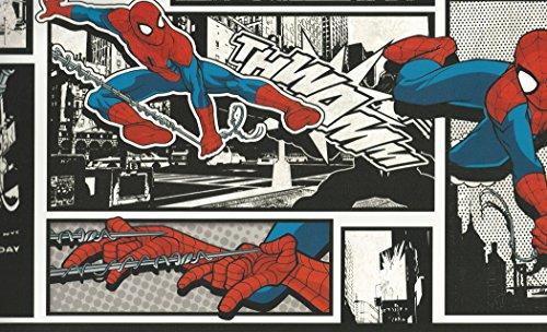 York Wallcoverings DY0250BD Disney Kids III Marvel Ultimate Spiderman Comic Border, - Spiderman Wallpaper