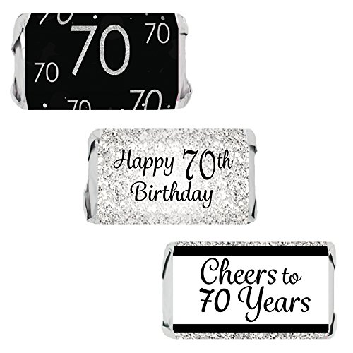 Black and Silver 70th Birthday Party Favors - Mini Candy Bar Wrapper Stickers (54 (Favors For 70th Birthday)