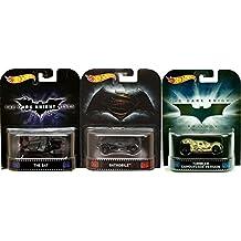 Hot Wheels Retro Entertainment Batman v Superman Batmobile, The Bat & Tumbler Camouflage Version 3-Car Bundle Set